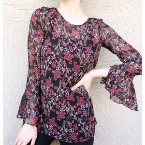 MAX STUDIO Floral Printed Bell Sleeve Tunic Blouse